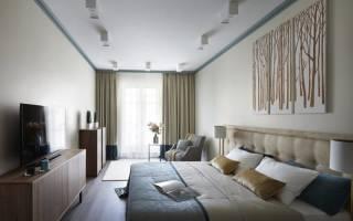 Интерьер длинной спальни