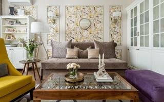 Комбинированные обои в гостиную: 5 идей для дизайна и фото