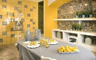 Применение желтых обоев на кухне