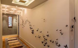Оформление стен бабочками своими руками при помощи различных техник